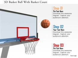 0115 3D Basket Ball With Basket Court Image Graphics For Powerpoint