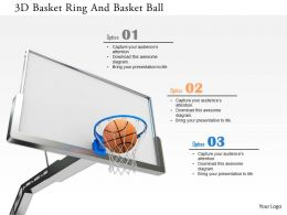 0115 3D Basket Ring And Basket Ball Image Graphics For Powerpoint