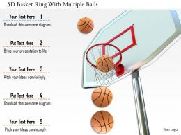 0115 3D Basket Ring With Multiple Balls Image Graphics For Powerpoint