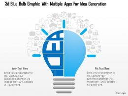 0115 3d Blue Bulb Graphic With Multiple Apps For Idea Generation Powerpoint Template