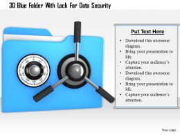 0115 3d Blue Folder With Lock For Data Security Image Graphic For Powerpoint