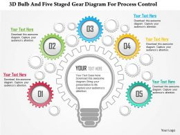 0115 3D Bulb And Five Staged Gear Diagram For Process Control PowerPoint Template