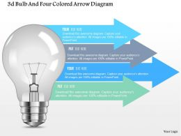 0115 3d Bulb And Four Colored Arrow Diagram Powerpoint Template