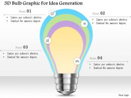 0115 3d Bulb Graphic For Idea Generation Powerpoint Template