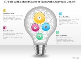 0115 3D Bulb Graphic With Colored Gears For Teamwork And Process Control PowerPoint Template