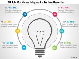 0115 3D Bulb With Modern Infographics For Idea Generation PowerPoint Template