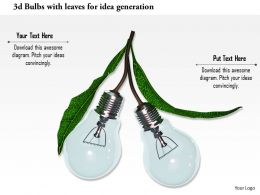 0115 3d Bulbs With Leaves For Idea Generation Image Graphic For Powerpoint