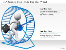 0115 3d Business Man Inside The Blue Wheel Ppt Graphics Icons
