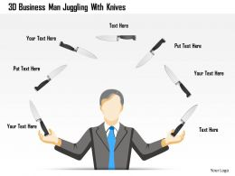 0115 3d Business Man Juggling With Knives Powerpoint Template