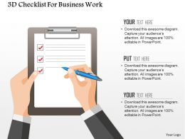 0115 3d Checklist For Business Work Powerpoint Template