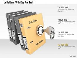 0115 3d Folders With Key And Lock Image Graphic For Powerpoint