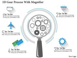 0115 3d Gear Process With Magnifier Powerpoint Template