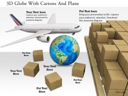 0115 3D Globe With Cartons And Plane Image Graphics For Powerpoint