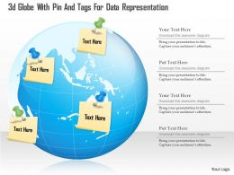0115 3d Globe With Pin And Tags For Data Representation Powerpoint Template