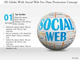 0115 3d Globe With Social Web For Data Protection Concept Image Graphic For Powerpoint