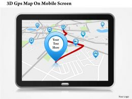 0115 3d Gps Map On Mobile Screen Powerpoint Template