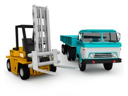 0115 3d Graphic Of Forklift And Blue Truck Stock Photo