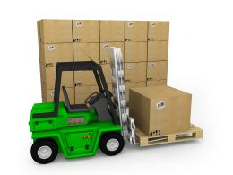 0115 3d Green Truck For Shipping Of Cartons Stock Photo