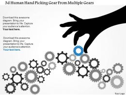 0115 3D Human Hand Picking Gear From Multiple Gears PowerPoint Template