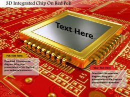 0115 3D Integrated Chip On Red Pcb Image Graphics For Powerpoint