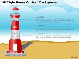 0115 3d Light House On Sand Background Powerpoint Template