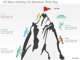 0115 3d Man Climbing On Mountain With Flag Powerpoint Template