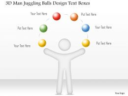 0115 3d Man Juggling Balls Design Text Boxes Powerpoint Template