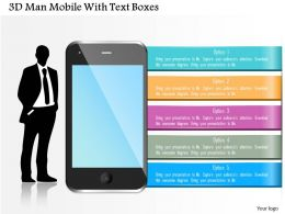 0115 3d Man Mobile With Text Boxes Powerpoint Template