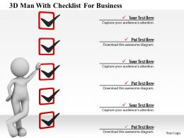 0115 3d Man With Checklist For Business Ppt Graphics Icons