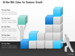 0115 3d Man With Cubes For Business Growth Powerpoint Template