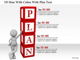 0115 3d Man With Cubes With Plan Text Ppt Graphics Icons