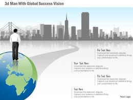 0115 3d Man With Global Success Vision Powerpoint Template