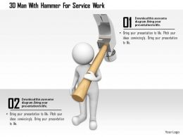 0115 3d Man With Hammer For Service Work Ppt Graphics Icons