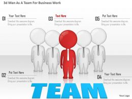 0115 3d Men As A Team For Business Work Powerpoint Template