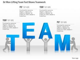 0115 3d Men Lifting Team Text Shows Teamwork Powerpoint Template