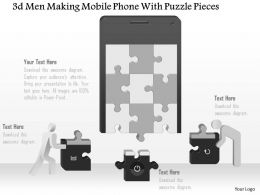 0115 3d Men Making Mobile Phone With Puzzle Pieces Ppt Slide