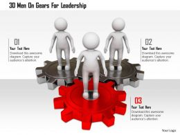 0115 3d Men On Gears For Leadership Ppt Graphics Icons
