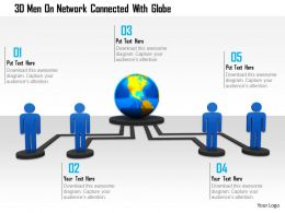 0115 3d Men On Network Connected With Globe Ppt Graphics Icons
