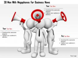 0115 3d Men With Megaphones For Business News Ppt Graphics Icons
