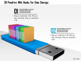 0115 3d Pendrive With Books For Data Storage Image Graphic For Powerpoint