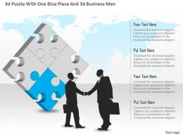 0115 3d Puzzle With One Blue Piece And 3d Business Men Powerpoint Template