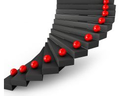 0115 3d Red Balls On Black Stairs Stock Photo