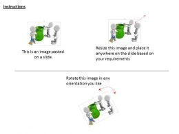 0115 3d Team With Green Recycle Bin For Waste Management Ppt Graphics Icons