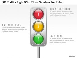 0115 3d Traffics Light With Three Numbers For Rules Powerpoint Template