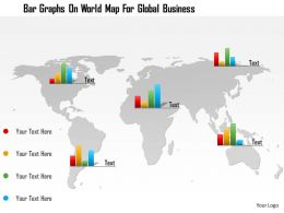 0115 Bar Graphs On World Map For Global Business Powerpoint Template