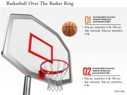 0115 Basketball Over The Basket Ring Image Graphics For Powerpoint