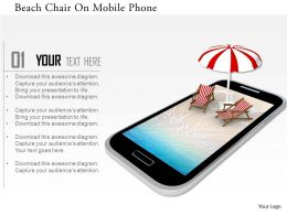 0115 Beach Chair On Mobile Phone Image Graphics For Powerpoint
