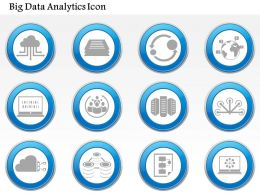 0115 Big Data Analytics Cloud Networking Storage Servers Computing Icon Set Ppt Slide