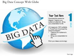 0115 Big Data Concept With Globe And Finger Clicking On Global Data Feeds Ppt Slide