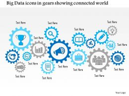 0115 Big Data Icons In Gears Showing Connected World Ppt Slide